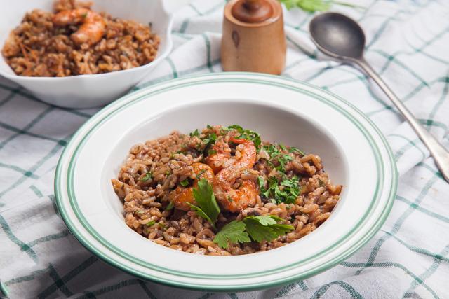 أرز إيطالي بالزعفران والجمبري (ريزوتو)
