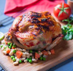 دجاج بحشو الفاصوليا البيضاء والخضار