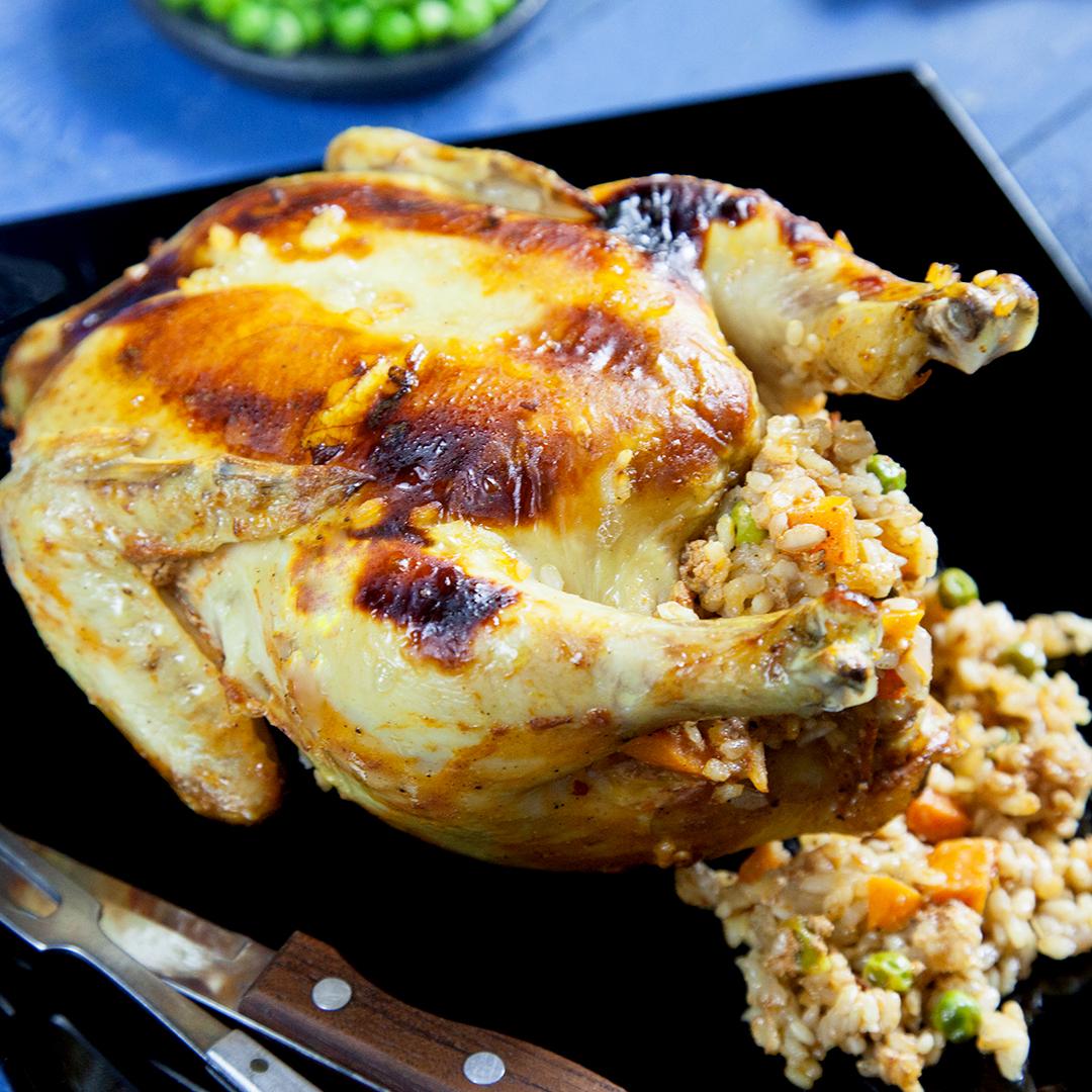 دجاج محشي ارز بالتتبيلة الحارة