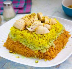 صددور الدجاج مع ارز ملون