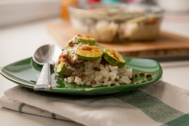 طاجن كوسة باللحم المفروم والارز