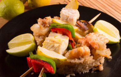 شيش سمك مع ارز السى فود