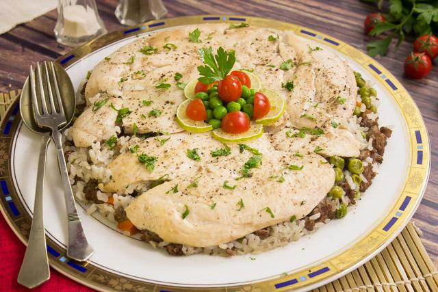 دجاج مع ارز باللحم المفروم