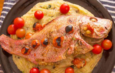 سمك محشي بالبطاطس و المشروم