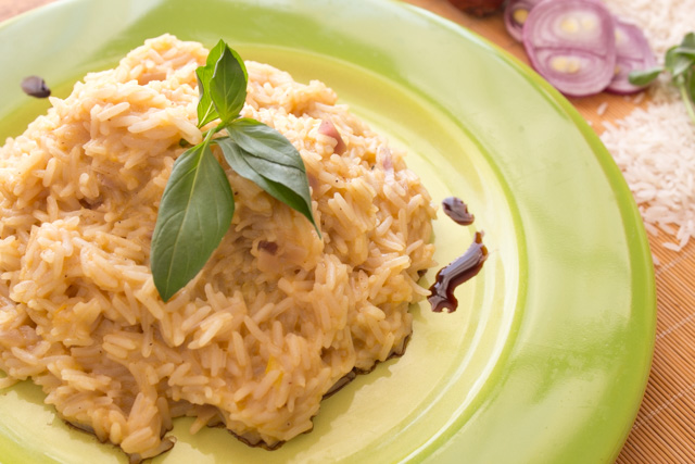 ارز بالقرع والخل البلسمك والقرفة