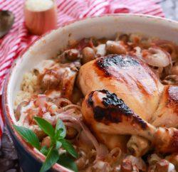 ارز معمر بالمشروم و الدجاج