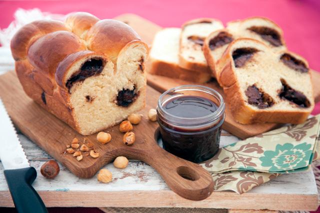 خبز بحشوة النوتيلا