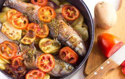 سمك بوري بالبطاطس