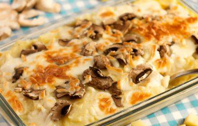 صينية بطاطس بيوريه بالدجاج و المشروم