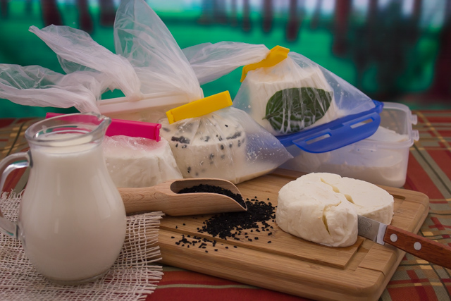 تخزين الجبن القريش بالحليب