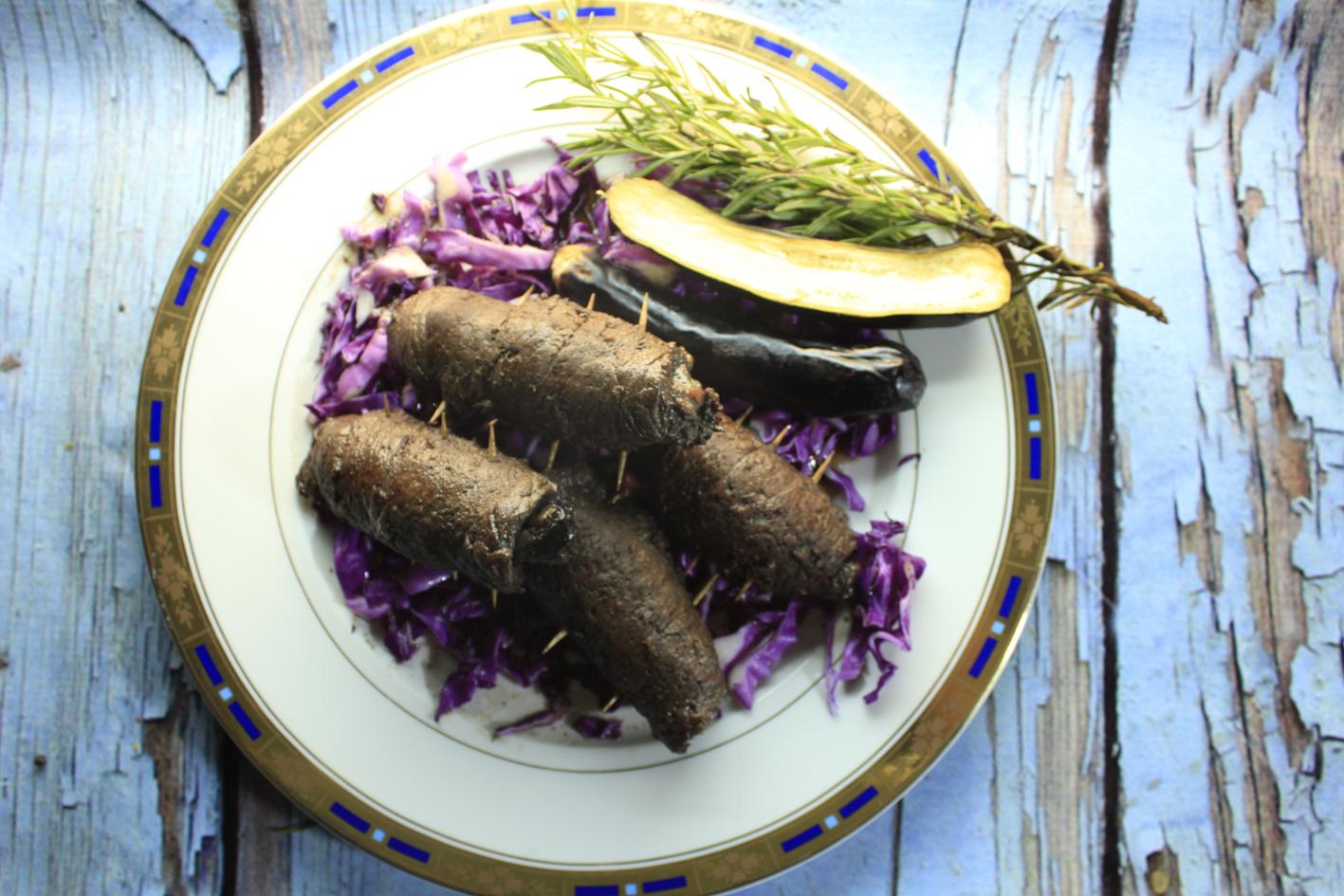 شرائح اللحم الملفوفة بالباذنجان
