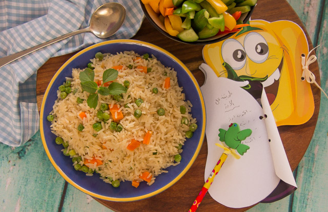 ارز بسمتي بالبسلة والجزر