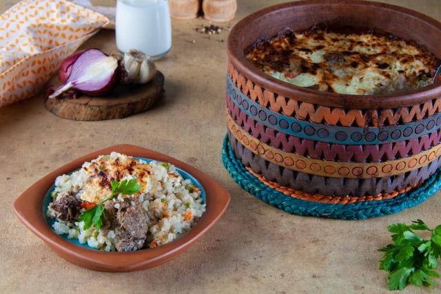طاجن ارز معمر باللحم والخضار