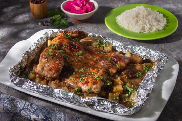 دجاج مسحب مع مكعبات البطاطس المدخنة